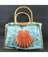Vintage blue Florida shell n bamboo handbag design by Robin Grubman Palm... - $40.00
