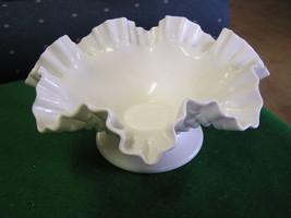 Vintage Large FENTON  MILK GLASS Ruffled Hobnail on Pedestal BOWL...SALE - $26.73