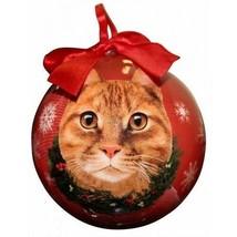 Orange Tabby Cat Christmas Ornament Shatter Proof Ball Red Snowflakes Ne... - $9.89