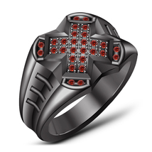 14k Black Gold Plated 925 Sterling Silver Men's Red Garnet Band Engageme... - $106.30