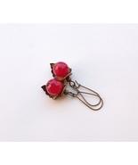 "earrings crimson agate ""berries on a leaf"" - $19.00"