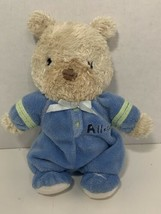 Carters Child of Mine All star small plush baby toy teddy bear tan blue ... - $3.95