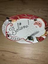 Fitz & Floyd Christmas Santa's List 'Believe' Cookie/Candy Tray NEW NWOB - $9.14