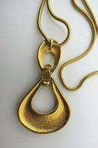 "Monet Enamel Pendant Necklace Snake Chain Designer Gold Plated 36"" Long 70s NICE image 4"