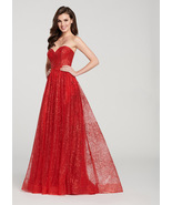 Sexy A Line Red Sequin Women Prom Dress Sweet Prom Gowns XL Maxi Party G... - $33.77