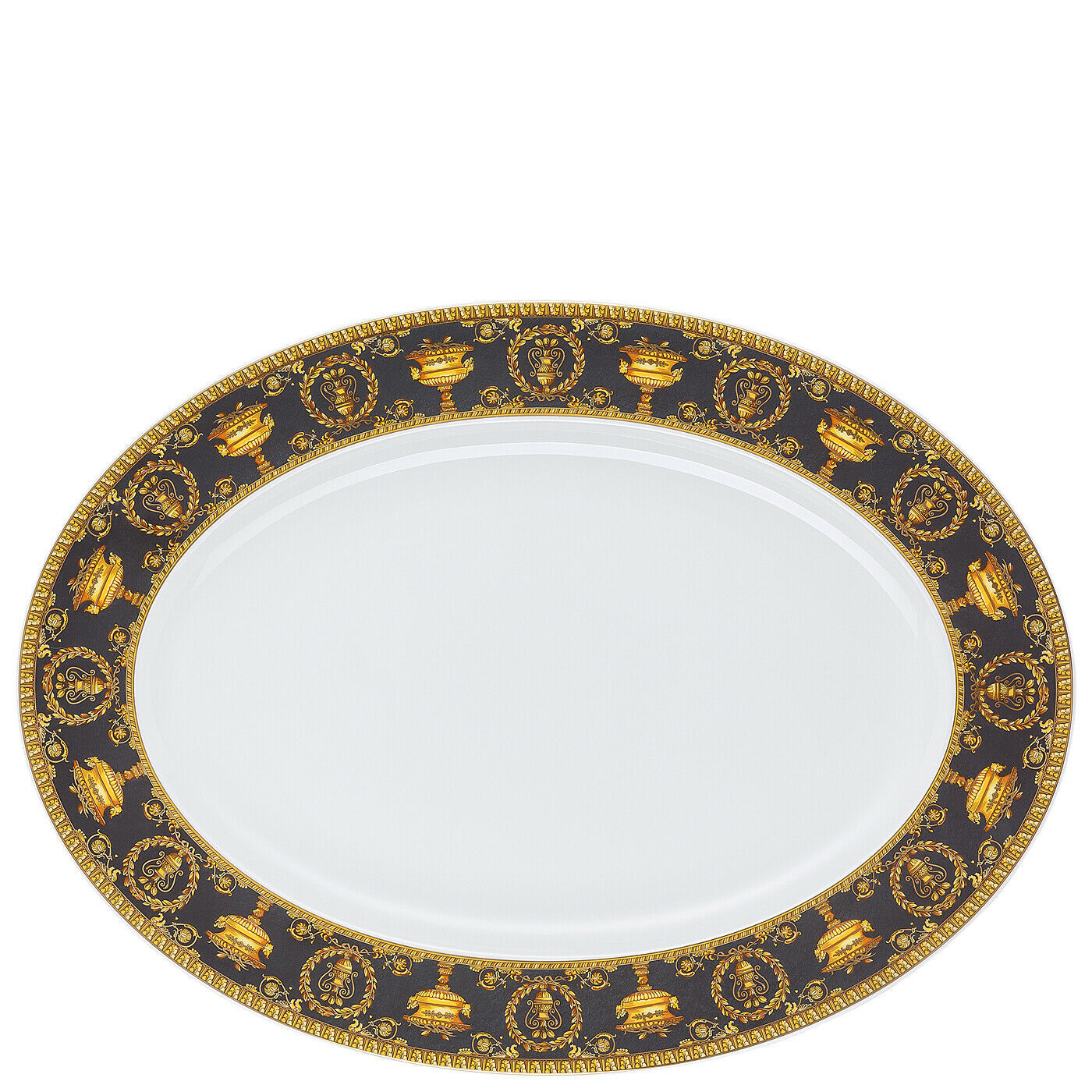 "Primary image for Versace Baroque Nero Platter 40 cm/15"" Porcelain Made in Italy"