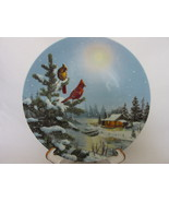 """""""Moonlight Retreat"""" Cardinals Collector Plate, Cabin, Boat Dock, W.T. George Co. - $9.99"""
