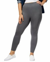 HUE First Looks Plus Size Seamless Leggings Solid CastleRock Gray 2X $28 NWT
