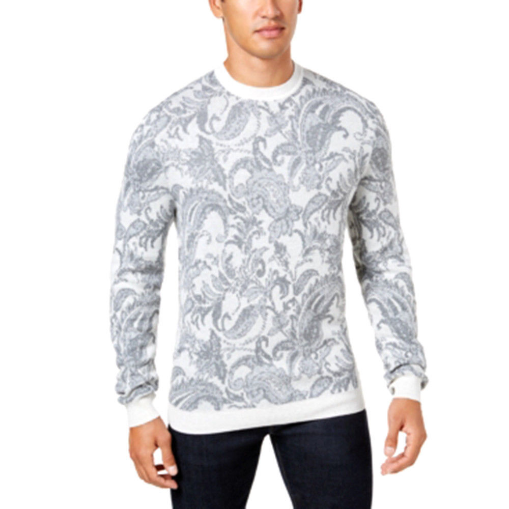 Tasso Elba Men's Paisley Crewneck Pullover Sweater Grey Size X-Large