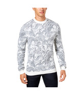 Tasso Elba Men's Paisley Crewneck Pullover Sweater Grey Size X-Large - $39.60