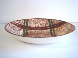 Geometric Mod Rustic Plaid Oval Serving Bowl Blue Ridge Southern Potteries - $32.33