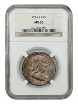 1953-S 50c NGC MS66 - Franklin Half Dollar - $242.50