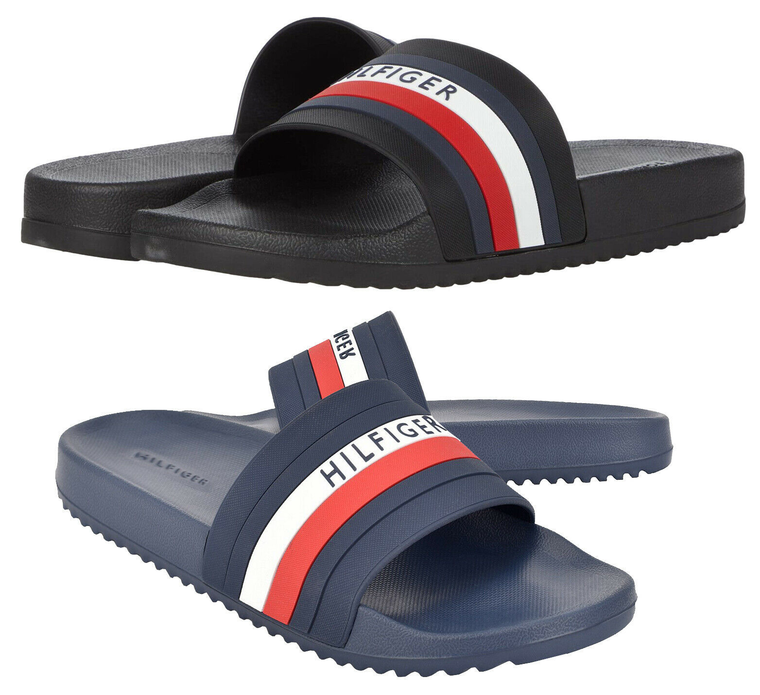 Men's Tommy Hilfiger Casual Designer Striped Slippers Riker Slide Sandals