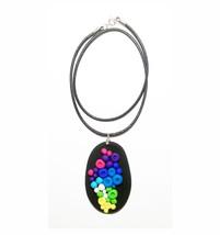Collar de Arcilla polimérica y cuero / Polymer clay and leather necklace - $29.50