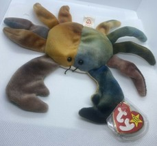 Claude Crab Beanie Baby Multi-Colored, P.E Pellets, 1996 Tags & Tag Protector - $10.29