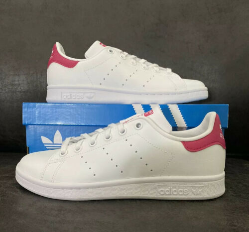 Primary image for Adidas Stan Smith J Big Kid's Shoes White-Bold Pink b32703 Size 4.5