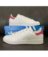 Adidas Stan Smith J Big Kid's Shoes White-Bold Pink b32703 Size 4.5 - $50.47
