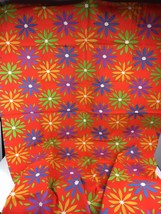 """44"""" X 1.9 Yards Vintage Fabric Mod Bright Flower Power Floral Colorful R... - $11.78"""