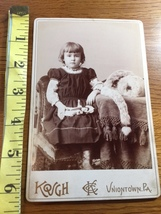 Cabinet Card Pretty Young Girl With Doll & Studio Artwork Rare 1860-80! - $12.00