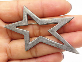 MEXICO 925 Sterling Silver - Vintage Slanted Star Cut Out Brooch Pin - B... - $43.20