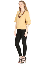 Tops for Women Beige Cotton Ruffle Bell Sleeves tops Chistmas gifts for her image 4
