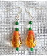 Judy Strobel Elegant Vintage Art Glass, Quartz Crystal & Jade Earrings - $19.75