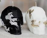 Skull Candle  gothic home Decor  skull Decor Halloween Decor  Black White Hal