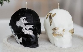 Skull Candle  gothic home Decor  skull Decor Halloween Decor  Black Whit... - £14.18 GBP