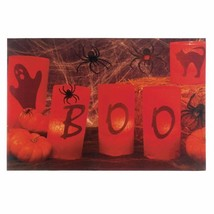 LED Lighted Wall Art Ghosts, Spiders, Pumpkins Boo Canvas Halloween Decor - $18.76