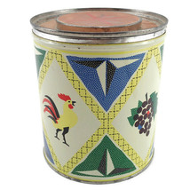 Fluffo Shortening Vtg Tin Can Rooster Grapes Print Proctor Gamble Advert... - $14.82