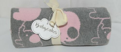 babycakes 131309 Gray Pink Elephant Baby Blanket 100 percent Cotton 36 by 30
