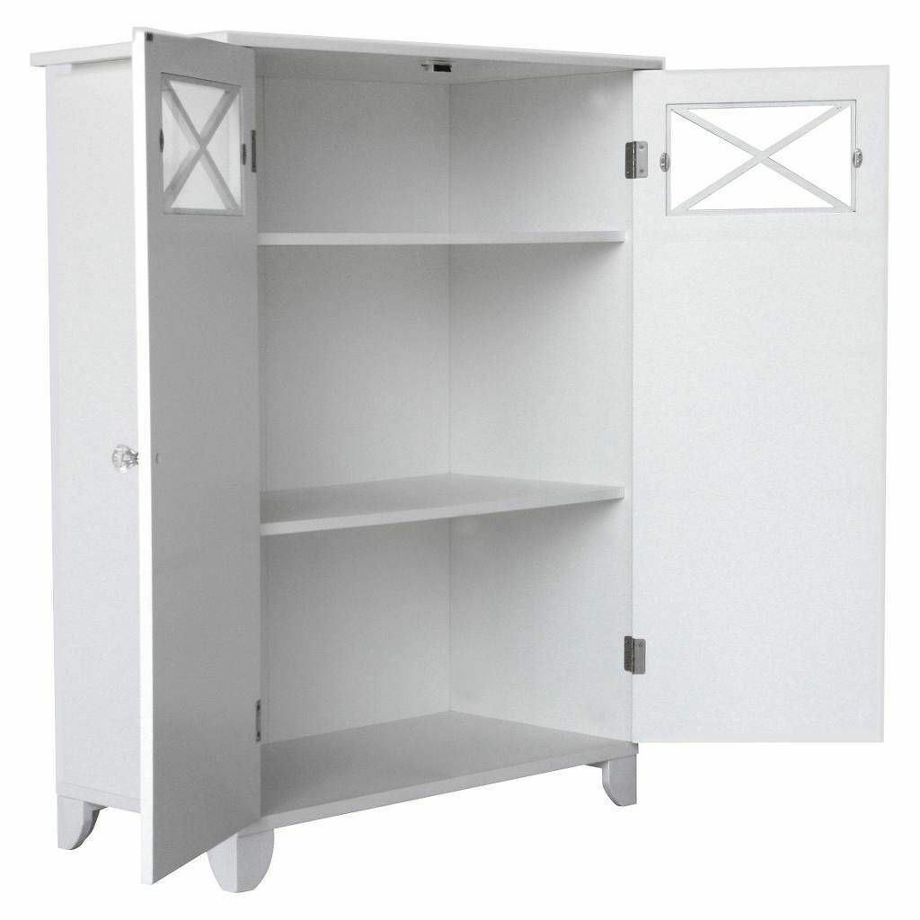 White Wooden Linen Storage Floor Cabinet 3 Tier Bathroom Organizer Towel Shelves