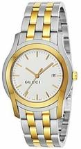 Gucci YA055216 Silver/Gold Belt Men's Watch Quartz G Class White Dial FR... - $745.12