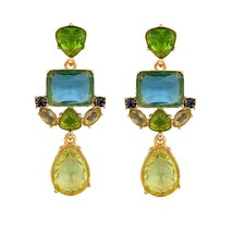 The Cats Pajama Kelly Green Glass Statement Earrings - $47.00