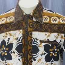 Vtg McInerny Tapa Batic Hawaiian Pullover Shirt Medium Zipper Aloha Welt... - $59.53