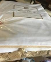 Pottery Barn Teen Tassel Duvet Cover White Gold Queen No Shams New - $119.00
