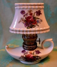 Vtg mini Genie Oil Lamp with removable Shade porcelain Japan  5.25 inche... - $15.88