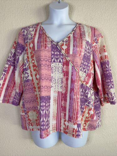 Primary image for Ruby Rd. Womens Plus Size 2X Pink Purple Abstract Pattern Blouse 3/4 Sleeve