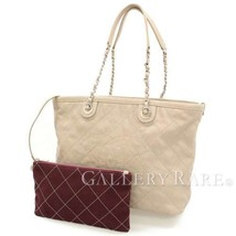 CHANEL Chain Tote Bag Matelasse Beige Caviar Leather Italy Authentic 481... - £1,844.66 GBP