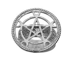 Sterling Silver .925 Celtic PENTAGRAM Crescent moon Goddess Witch sorcer... - $60.02