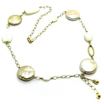 18K YELLOW GOLD NECKLACE WITH MOTHER OF PEARL AND PEARL DISC, RHOMBUS CHAIN image 1