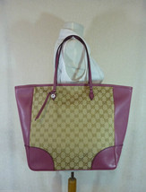 AUTH NWOT GUCCI Beige/Ebony/Dusty Rose Canvas/Leather Bree GG Tote - $1300 - $1,168.20