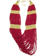 NEW AMRITA SINGH RED CORAL & GOLD MULTI-STRAND BEADED NECKLACE WOMEN'S - $22.76