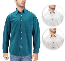 Men's Cotton Denim Button Down Long Sleeve Casual Jean Dress Shirt
