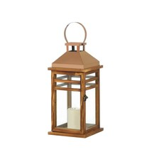 Outdoor Candle Lantern, Decorative Contemporary Rose Gold Metal Lantern ... - $41.99
