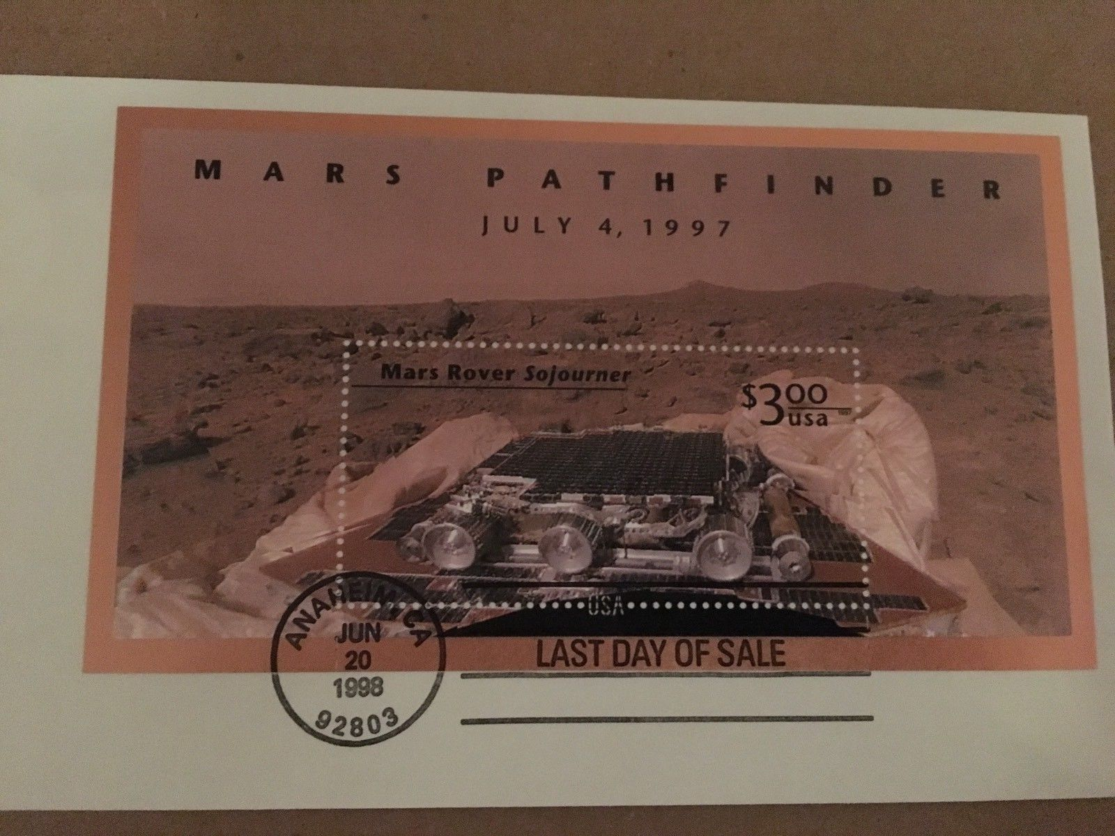 Mars Pathfinder Last Day of Sale  June 20, 1998 USPS $3.00 Stamp
