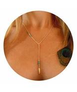 Drecode Boho Necklace Dainty Turquoise Leaf Beaded Pendant Sandbeach Lon... - $7.35