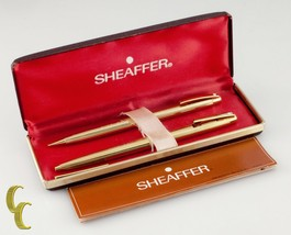 Sheaffer Electroplated Gold Pen & Pencil Set W/Box and Papers - $79.19