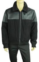NEW MENS DKNY JEANS BLACK DISTRESSED WOOL BLEND SHERPA COLLAR JACKET XL - $49.99