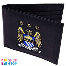 MANCHESTER CITY FC MENS BLACK WALLET EMBROIDERED OFFICIAL FOOTBALL SOCCE... - $16.62